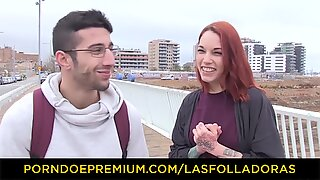 LAS FOLLADORAS - Silvia Ruby takes random guy for sex