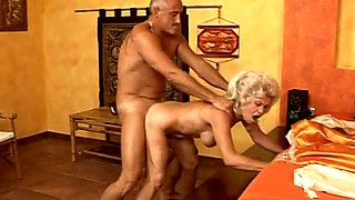 Insanely horny granny with hairy pussy is riding hard dick like crazy