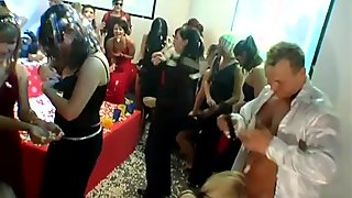 Drunk chicks  enjoy horny dudes drilling them hard at the party