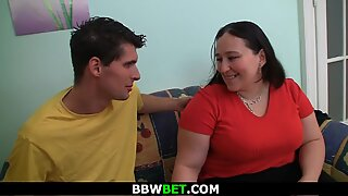 large belly dark-haired fatty is picked up and romped