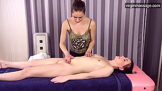 Virgin hot girl Sasha Mamaeva gets her first massage