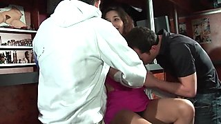 Petite french brunette hard double penetrated