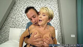 Hairy grandma jizzed on