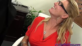 Fingering Blonde Mature Boss