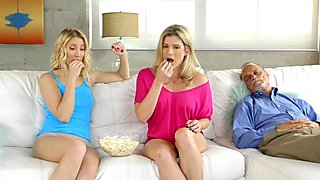 Tribbing and minge eating MILF and teen Cory Chase and Sierra Nicole
