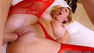 Milf finished masturbation on huge cock