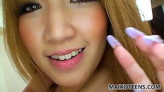 Blowjob by beautiful Japanese Hikari Asakawa before vibrator masturbation
