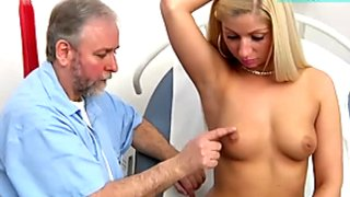 Sexy blonde Candy has a very hot gyno exam