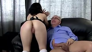 Horny school girl fucked then strips for lucky older guy