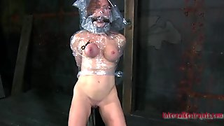 Nude and gagged playgirl gets wild cunt pleasuring
