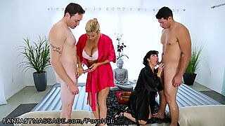 FantasyMassage sizzling Cougars take on 2 youthfull folks