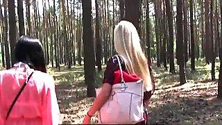 Outdoor euro amateurs having lesbian fun