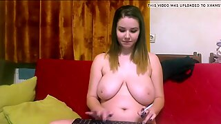 chubby girl smoking on webcam