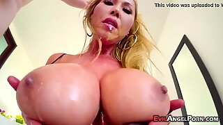 Cock loving busty blonde MILF sucks a big cock