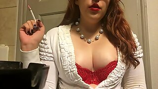 Chubby Teen Smoking Goddess showing off Big perky mammories Red Bra and Sweater