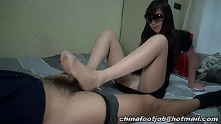 asian nylon footjob