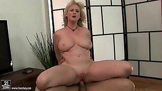 Busty grandma enjoys anal fuck