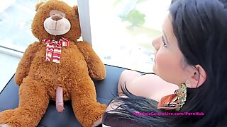 fat boobed Angelina Castro Has sex with Teddy Bear?!