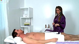 Dark haired petite hottie gives steamy BJ to her BF in massage parlor