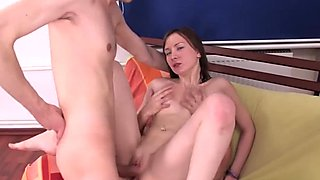 Skinny horny chick in DP fuck and massive facials