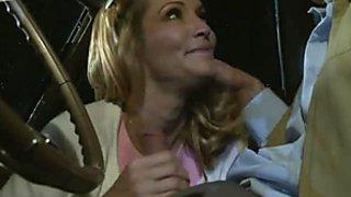 Sexy blonde cutie Jessica Drake fucks her nerdy boyfriend in his car