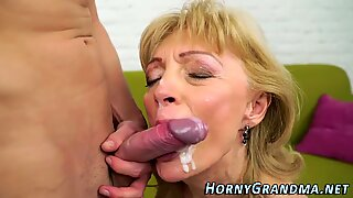 Mature grandma sucking