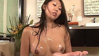 Brunette Beti Hana likes massage and blowjobs