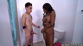 Teen swallows two loads and hairy ebony pussy white cock Young Juan Takes on a Brickhouse