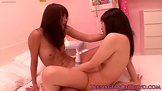 Japanese les teen schoolgirls share vibrator
