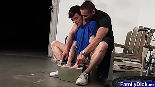 Teen asks stepdad to help him and gets bareback banged