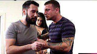 Horny slut Katrina Jade fucked and facialed by two nasty men