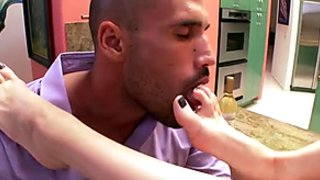 Tall slim and sexy Tiffany Tyler gets her feet licked and gives a footjob