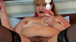 handsome plumper milf, dildo in big juicy rump and vibrator in hairy pussy