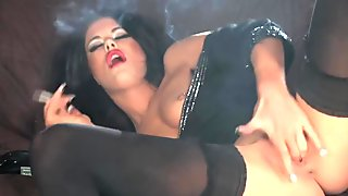 SEXY WOMAN SMOKING AND MASTURBATING