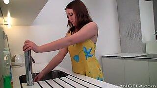 Shy Angela In The Kitchen