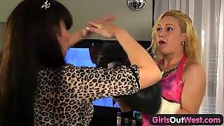 Nasty amateur lesbian dildo play