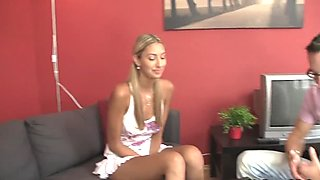Czech blonde girl cheats as her BF leaves
