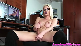 Busty tgirl masturbates after stripping