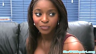 Funny squirting scene with sexy ebony babe