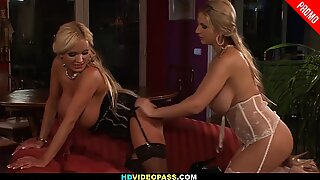 Big titted MILFs Lora and Eva get it on
