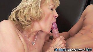 Mature grandma gives head
