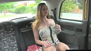 Throating taxi euro titfucks cabbies cock
