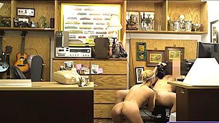 Perky tits blond babe banged by pawn guy in his office