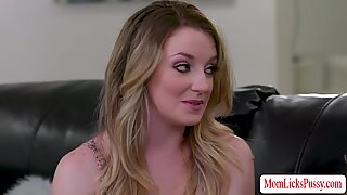 Jealous stepmom Kayla Paige licks her stepdaughter Kate Kennedys pussy