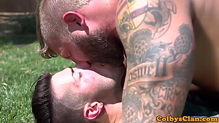 Rimming muscle jock pounds ass outdoors