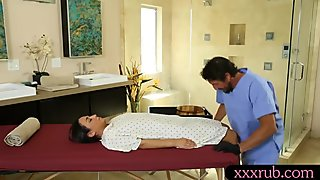 Hot woman gets screwed by her nasty masseur and blowjobs