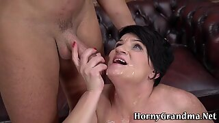 Mature granny tit fucks and sucks