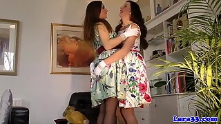 Posh brit milf and teenage playful lesbian fun
