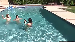 Wild pool party that leads to lesbian sex of teen besties