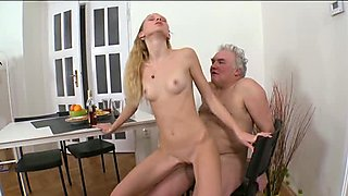 Juvenile babe exposes her vagina for an old fucker